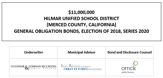 $11,000,000 HILMAR UNIFIED SCHOOL DISTRICT (MERCED COUNTY, CALIFORNIA) GENERAL OBLIGATION BONDS, ELECTION OF 2018, SERIES 2020 FOS POSTED 11-24-20