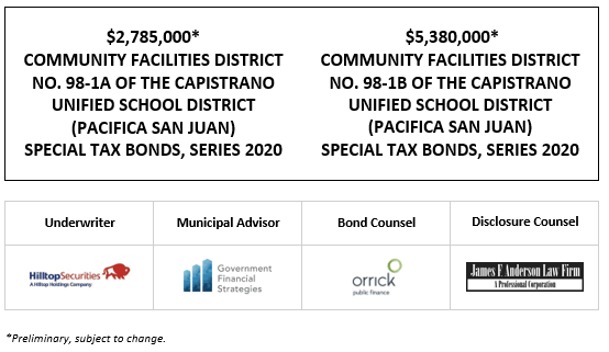$2,785,000 * COMMUNITY FACILITIES DISTRICT NO. 98-1A OF THE CAPISTRANO UNIFIED SCHOOL DISTRICT (PACIFICA SAN JUAN) SPECIAL TAX BONDS, SERIES 2020 Dated: $5,380,000 * COMMUNITY FACILITIES DISTRICT NO. 98-1B OF THE CAPISTRANO UNIFIED SCHOOL DISTRICT (PACIFICA SAN JUAN) SPECIAL TAX BONDS, SERIES 2020 POS POSTED 11-24-20