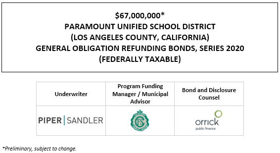 $67,000,000* PARAMOUNT UNIFIED SCHOOL DISTRICT (LOS ANGELES COUNTY, CALIFORNIA) GENERAL OBLIGATION REFUNDING BONDS, SERIES 2020 (FEDERALLY TAXABLE) POS POSTED 11-12-20