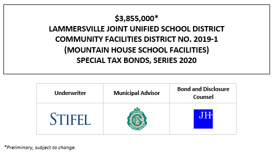 $3,855,000* LAMMERSVILLE JOINT UNIFIED SCHOOL DISTRICT COMMUNITY FACILITIES DISTRICT NO. 2019-1 (MOUNTAIN HOUSE SCHOOL FACILITIES) SPECIAL TAX BONDS, SERIES 2020 POS POSTED 12-1-20