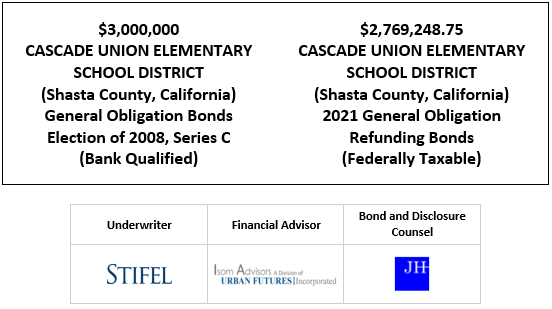 $3,000,000 CASCADE UNION ELEMENTARY SCHOOL DISTRICT (Shasta County, California) General Obligation Bonds Election of 2008, Series C (Bank Qualified) $2,769,248.75 CASCADE UNION ELEMENTARY SCHOOL DISTRICT (Shasta County, California) 2021 General Obligation Refunding Bonds (Federally Taxable) FOS POSTED 12-22-20