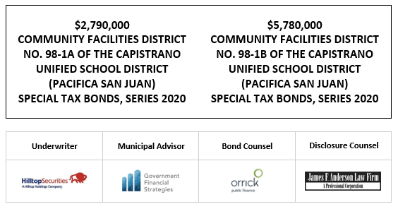 $2,790,000 COMMUNITY FACILITIES DISTRICT NO. 98-1A OF THE CAPISTRANO UNIFIED SCHOOL DISTRICT (PACIFICA SAN JUAN) SPECIAL TAX BONDS, SERIES 2020 $5,780,000 COMMUNITY FACILITIES DISTRICT NO. 98-1B OF THE CAPISTRANO UNIFIED SCHOOL DISTRICT (PACIFICA SAN JUAN) SPECIAL TAX BONDS, SERIES 2020 FOS POSTED 12-17-20