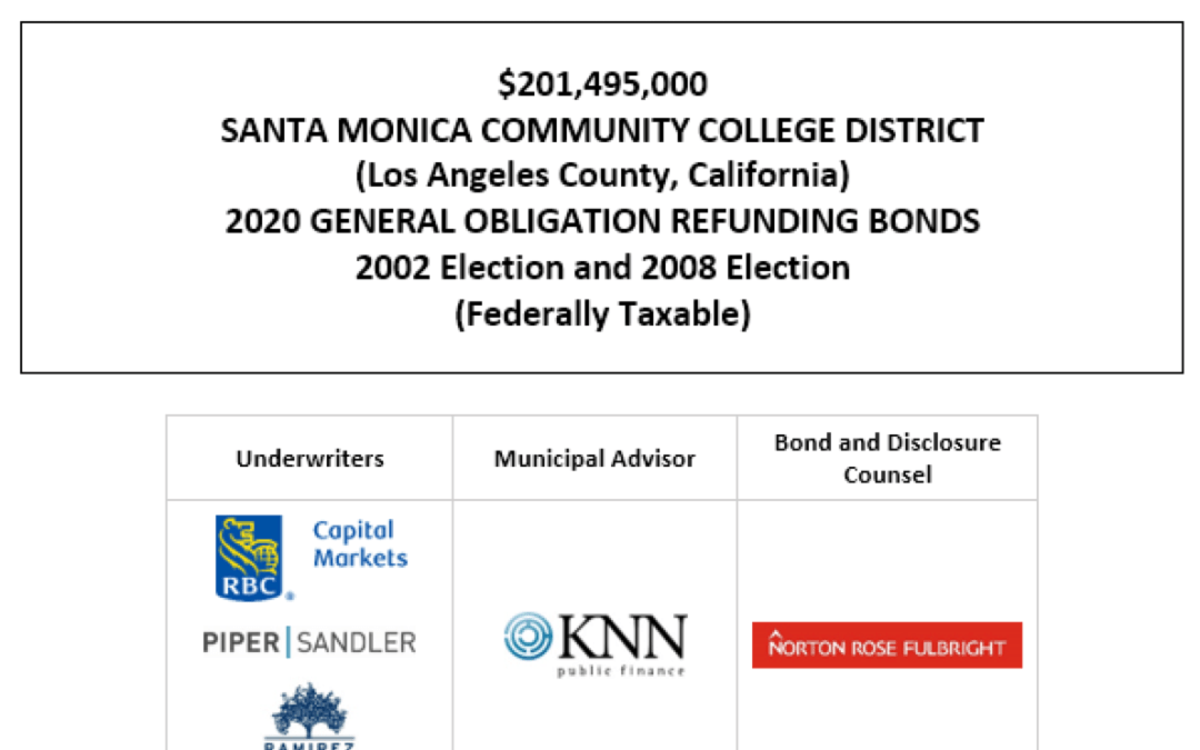$201,495,000 SANTA MONICA COMMUNITY COLLEGE DISTRICT (Los Angeles County, California) 2020 GENERAL OBLIGATION REFUNDING BONDS 2002 Election and 2008 Election (Federally Taxable) FOS POSTED 12-9-20