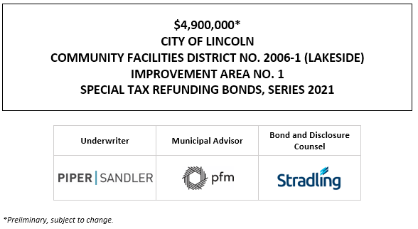 $4,900,000* CITY OF LINCOLN COMMUNITY FACILITIES DISTRICT NO. 2006-1 (LAKESIDE) IMPROVEMENT AREA NO. 1 SPECIAL TAX REFUNDING BONDS, SERIES 2021 POS POSTED 1-6-21