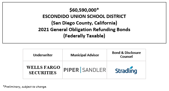 $60,590,000  ESCONDIDO UNION SCHOOL DISTRICT (San Diego County, California) 2021 General Obligation Refunding Bonds (Federally Taxable POS POSTED 1-8-21