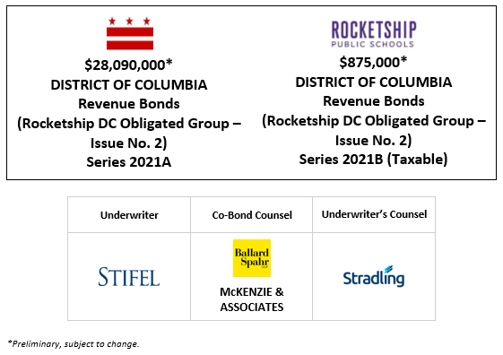 $28,090,000 * DISTRICT OF COLUMBIA Revenue Bonds (Rocketship DC Obligated Group – Issue No. 2) Series 2021A $875,000∗ DISTRICT OF COLUMBIA Revenue Bonds (Rocketship DC Obligated Group – Issue No. 2) Series 2021B (Taxable) PLOM + INVESTOR PRESENTATION POSTED 1-21-21