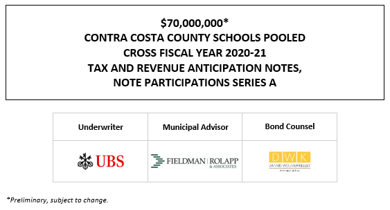 $70,000,000* CONTRA COSTA COUNTY SCHOOLS POOLED CROSS FISCAL YEAR 2020-21 TAX AND REVENUE ANTICIPATION NOTES, NOTE PARTICIPATIONS SERIES A POS POSTED 1-19-21