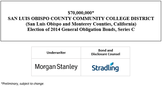 $70,000,000* SAN LUIS OBISPO COUNTY COMMUNITY COLLEGE DISTRICT (San Luis Obispo and Monterey Counties, California) Election of 2014 General Obligation Bonds, Series C POS POSTED 1-22-21