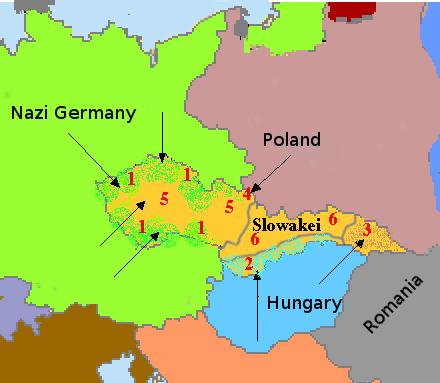 Divisão da Checoslováquia em 1938. Obrigado a Benutzer:LucaLuca, piotrus e Wikimedia Commons