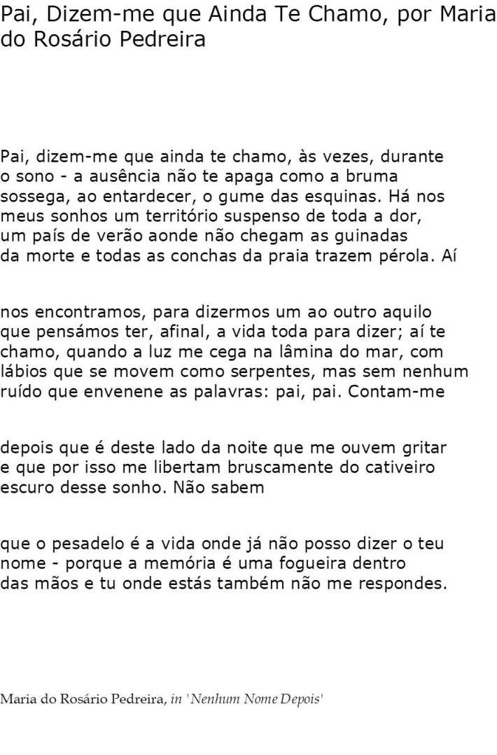 Pai, dizem-me que ainda te chamo, por Maria do Rosário Pedreira