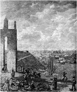 A Torre da Marca na gravura (parte) de Manuel Marques de Aguilar de 1793