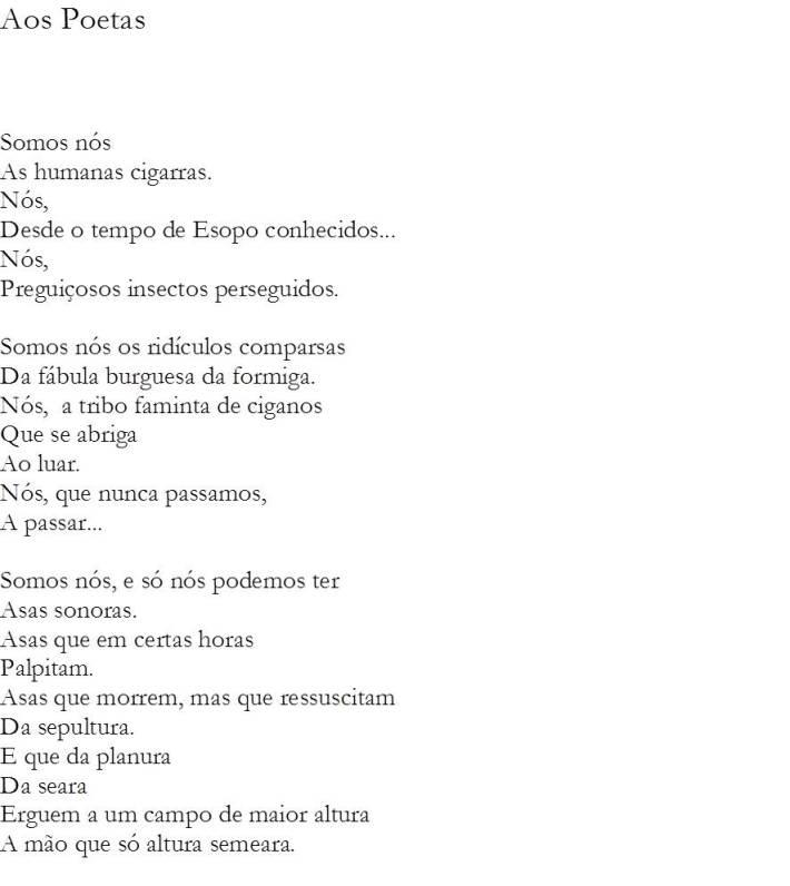 Aos Poetas - I