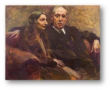 Com sua esposa, Angelina Brandão (quadro de Columbano)