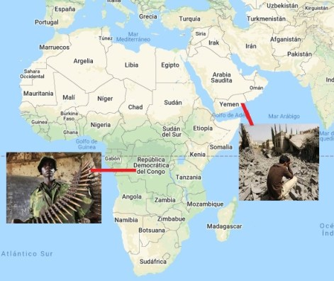 Guerra Iemen Congo mapa africa_ médio oriente