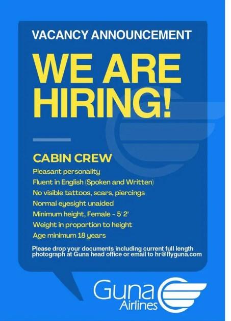 guna airlines cabin crew vacancy requirement