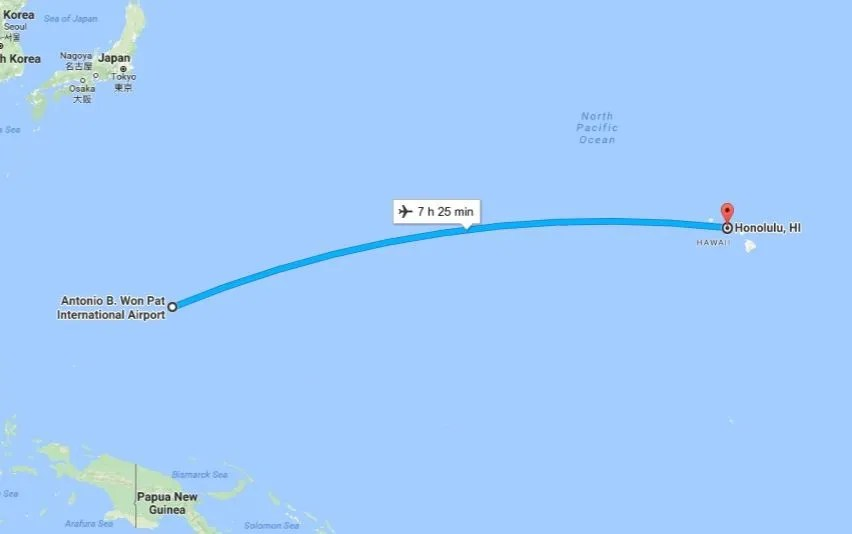 Guam And Hawaii Map.Hawaii To Guam On Hawaiian Airlines Airport News Aviation Travel