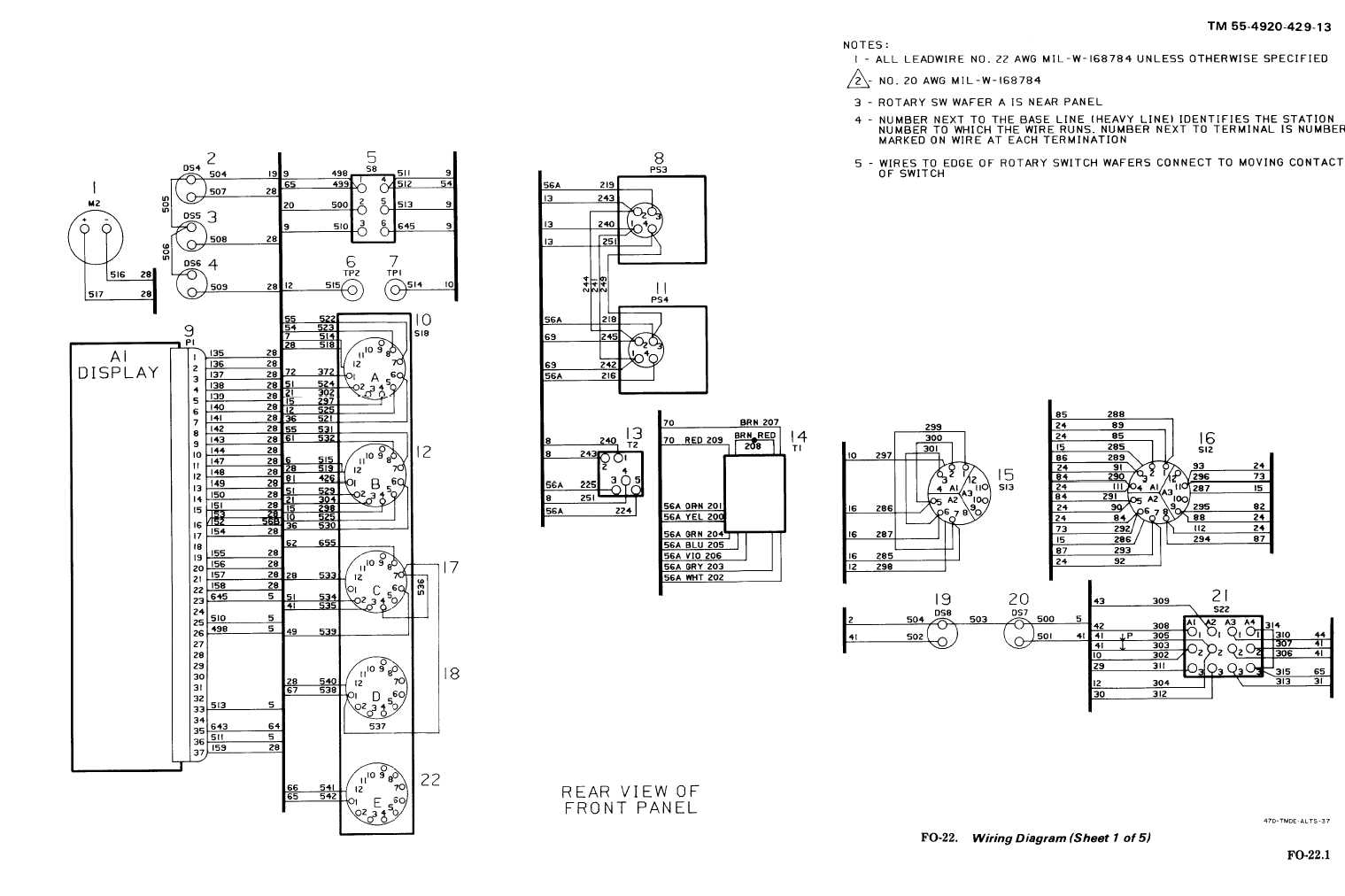 FO-22. Wiring Diagram (sheet 1 of 5)