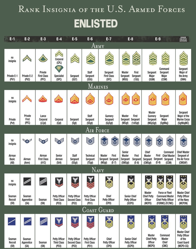 United States Military Rank Structure For The Air Force