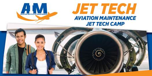 GRaphic of JEt Tech Stem camp with male and female students