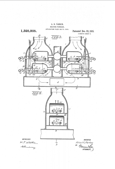 A drawing from Alice H. Parker's patented heating system
