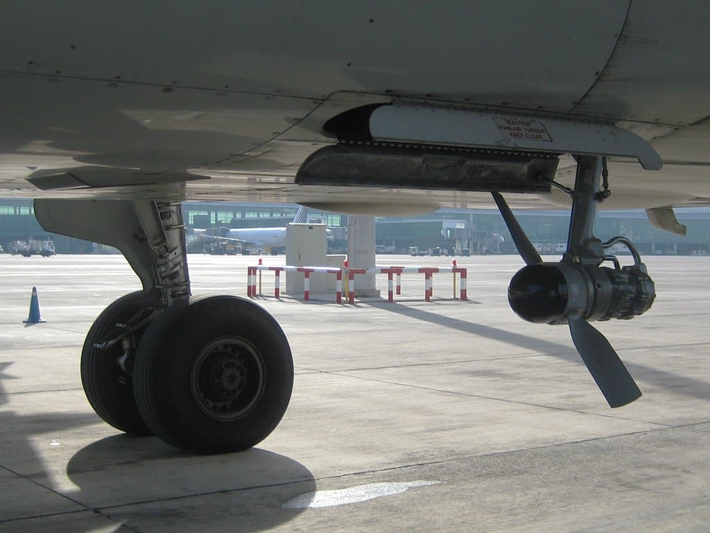 A320 showing deployed Ram Air Turbine RAT