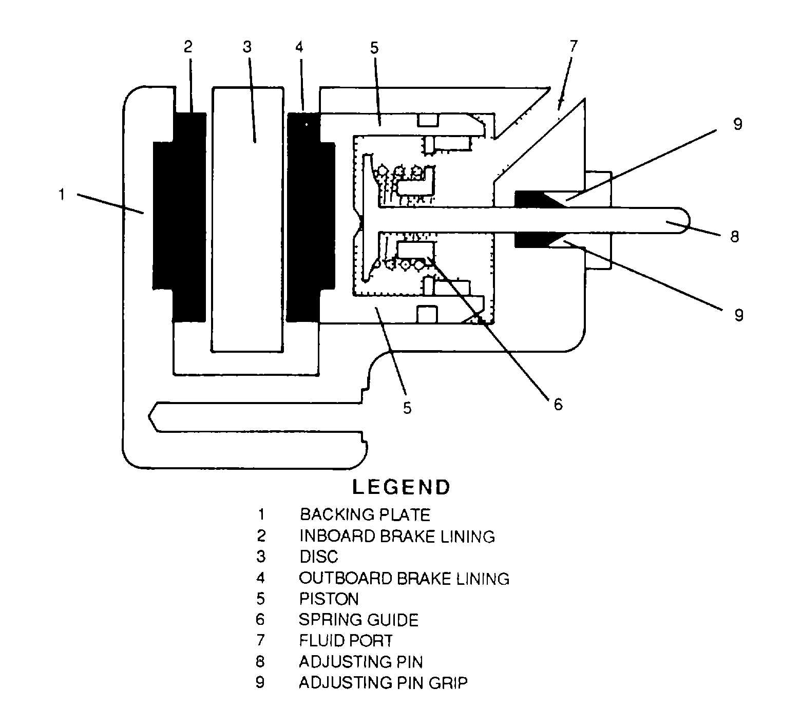 hight resolution of disc brake assembly cross section