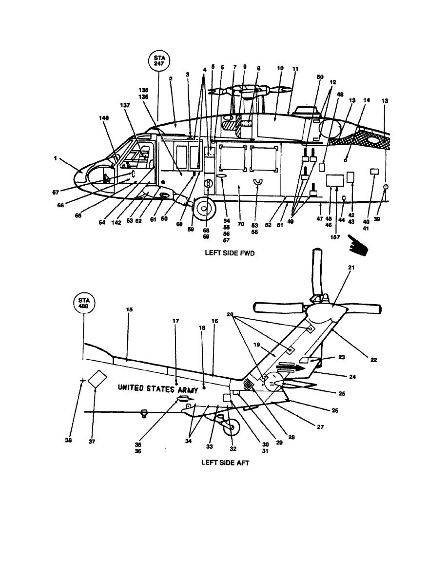 Figure 9-42. Exterior and Interior Markings, UH-60 (Sheet