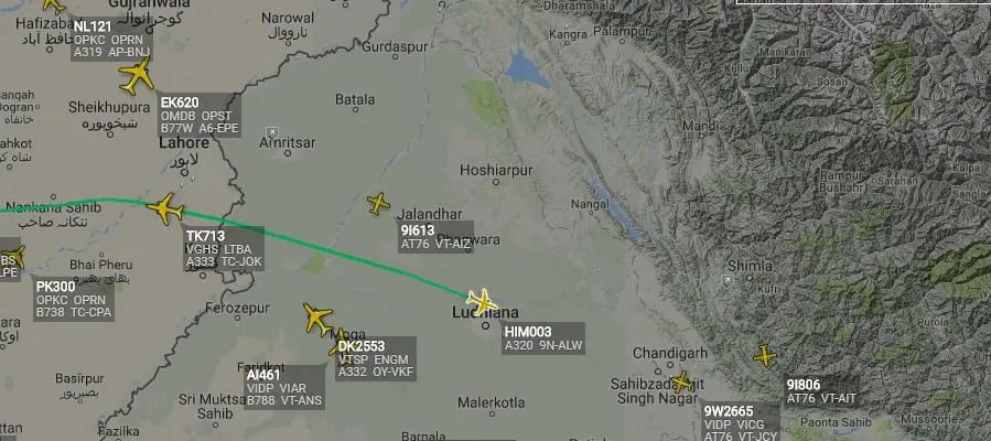 9N-ALW in Indian Airspace