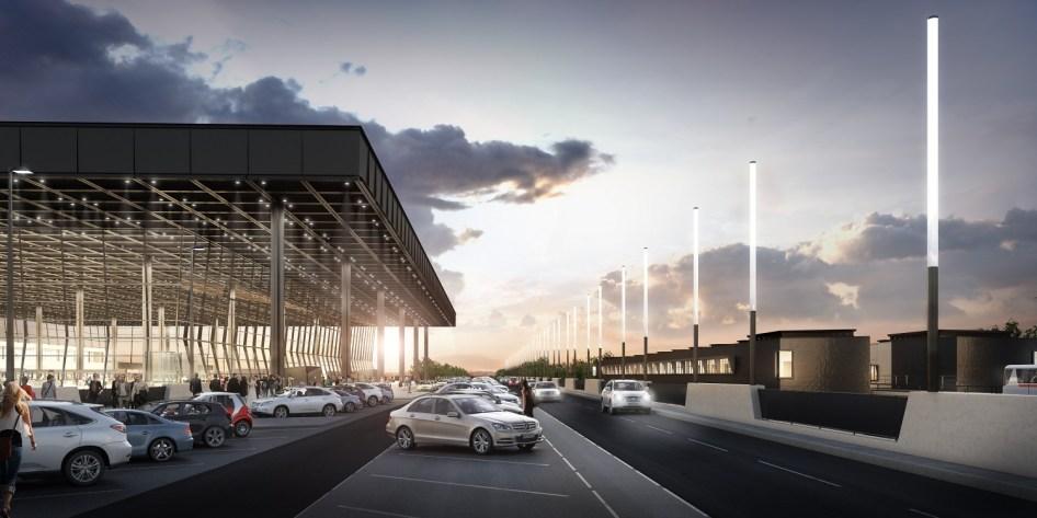 Terminal 3 - außen mit PTS-Station