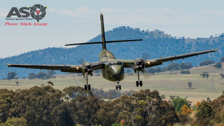 The HARS Caribou about to land at Scone.