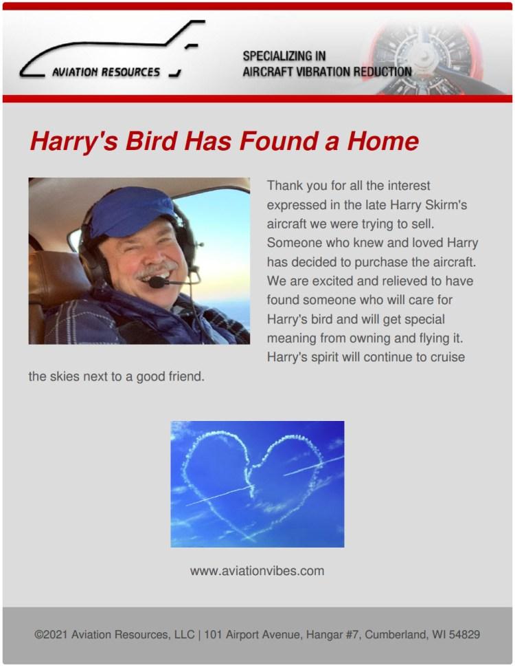 Harry's Bird has found a home