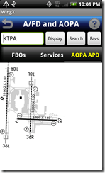AFD airport diagram screen