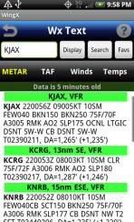 WingX weather - metar screen