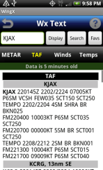 WingX weather - taf screen