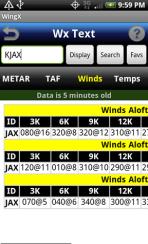 WingX weather - winds screen