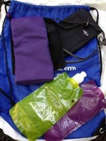 String bags, passport purse, camp towel, water bottles
