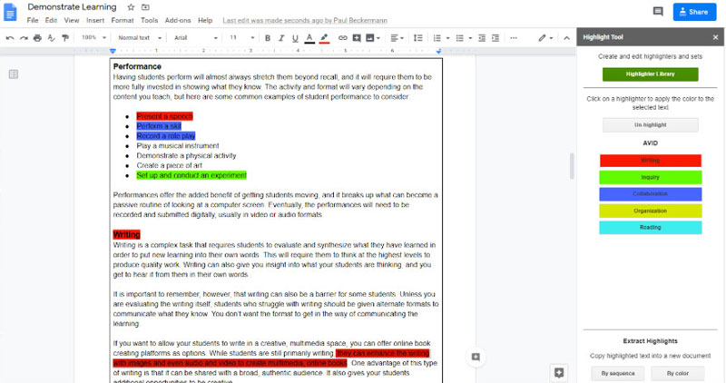 Sample of highlighting notes in Google Docs