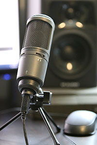 A professional microphone, used in recording podcasts