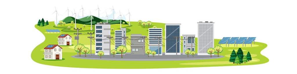 buildings with solar and wind energy integrated