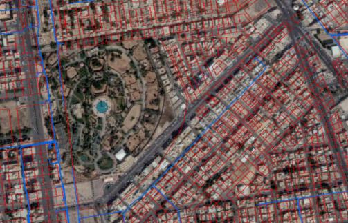 Superposition du réseau sur Google Maps avant la transformation du référentiel