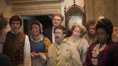 Some of the main ghost characters from BBC Ghosts comedy series