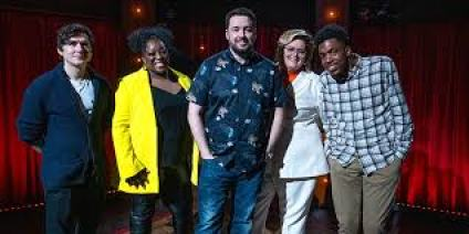 jason manford with the cast of first episode of Funny Festival Live