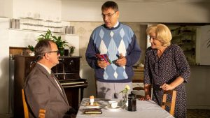 Sandylands - Episode 03<br /> Picture shows: (L-R) Hugh Bonneville as The One Eyed Man, David Walliams as Derek Swallows and Sophie Thompson as Jeannie Swallows