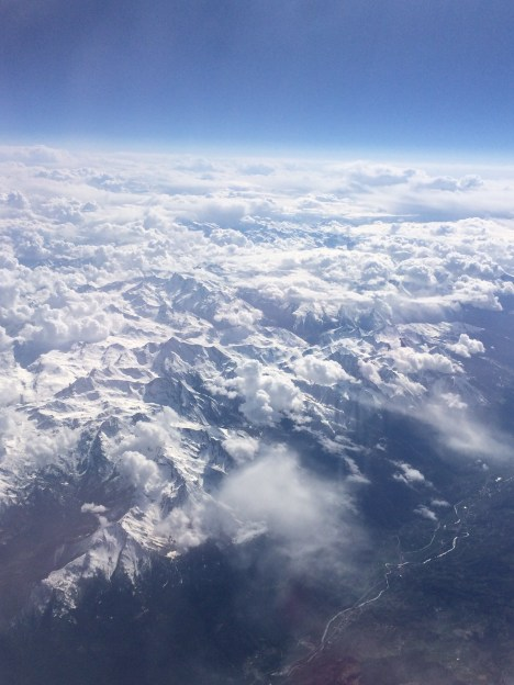 Flying over the Alps.