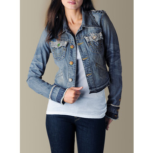 True Religion Brand Jeans Womens Jada Love & Haight Cropped Denim Jacket