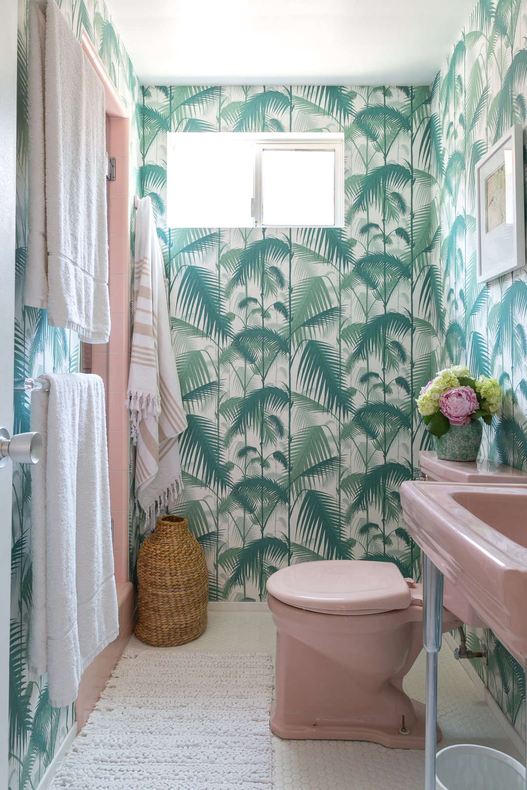 Girls Bathrooms A Golden Girls Inspired Bathroom Palm Print And Vintage Pink