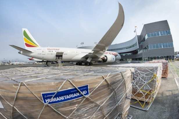 Vuelo de entrega humanitario de un Boeing 787-9 de Ethiopian Airlines