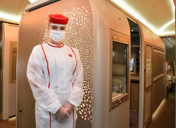Interior Primera Clase Airbus A380 de Emirates con medidas a bordo contra el Covid-19 Coronavirus