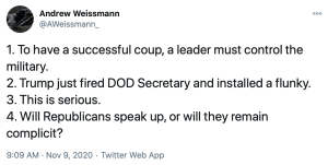 The Leftists were expecting Esper to lead the US military in the coup against President Trump