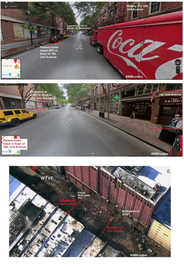 Photos showing the location of the RV and the explosion at AT&T